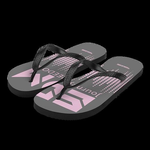 Flip-Flops Charcoal EDM J to F Sound Bars Print - Pink
