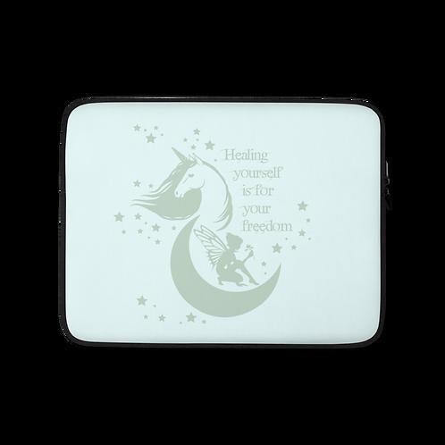 Laptop Case Zip Up - Unicorn Fairy Sage - Ice Blue