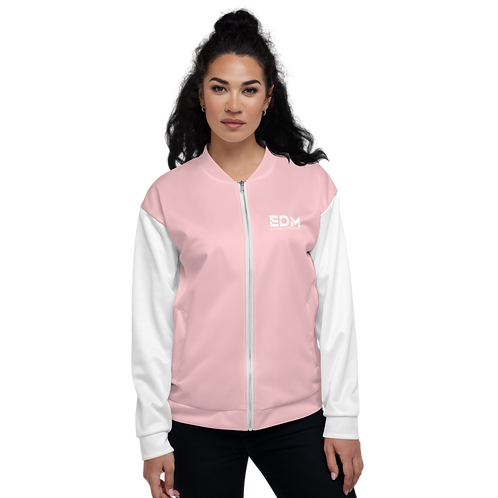 Women's Unisex Fit Bomber Jacket - EDM Journey to Freedom White / Baby Pink