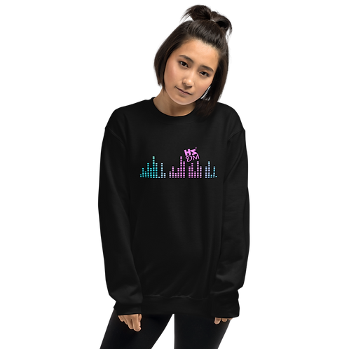 Women's Sweatshirt - HS Design & Music Multi Equalizer Pink Logo - Black