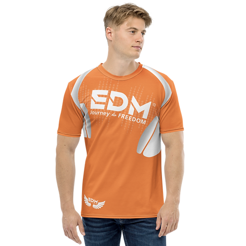 Men's T-shirt - EDM J to F Headphones - White / Orange