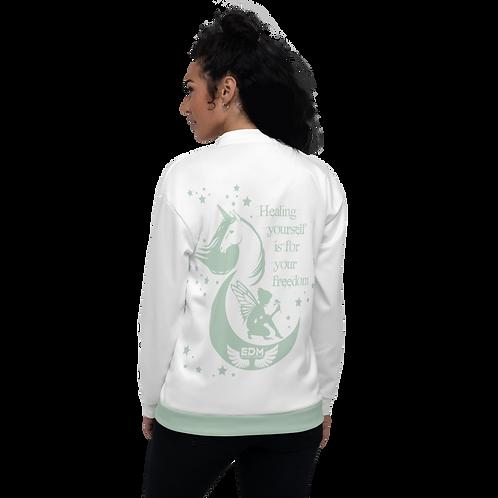 Women's Unisex Fit Bomber Jacket - Unicorn Fairy Sage - White