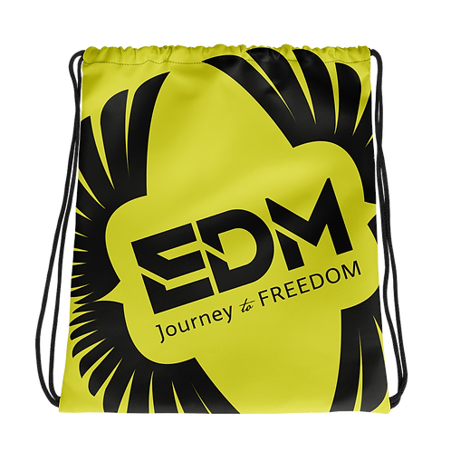 Lime Yellow Drawstring Bag - EDM Journey to Freedom Large Print - Black