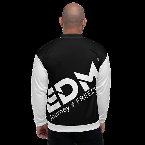 Men's Unisex Fit Bomber Jacket - EDM Journey to Freedom White / Black