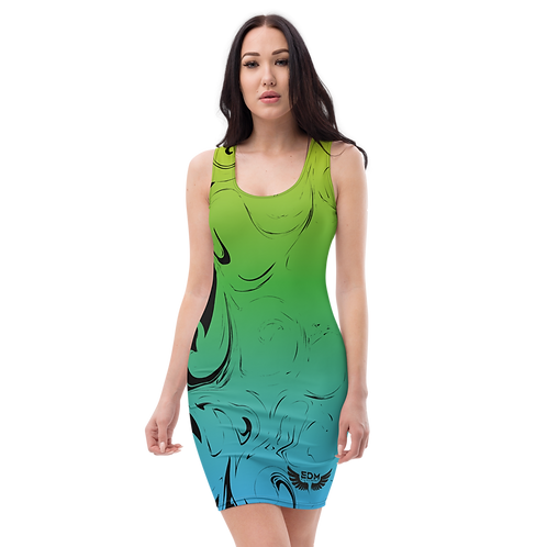 Body Con Dress - EDM J to F Green/Blue Gradient Swirl - Black