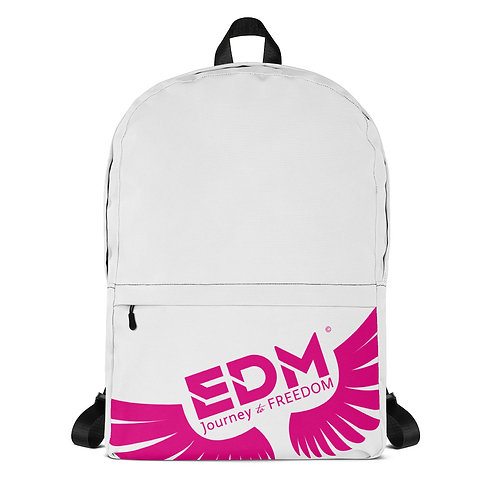 Backpack White / Black - EDM Journey to Freedom Print - Hot Pink