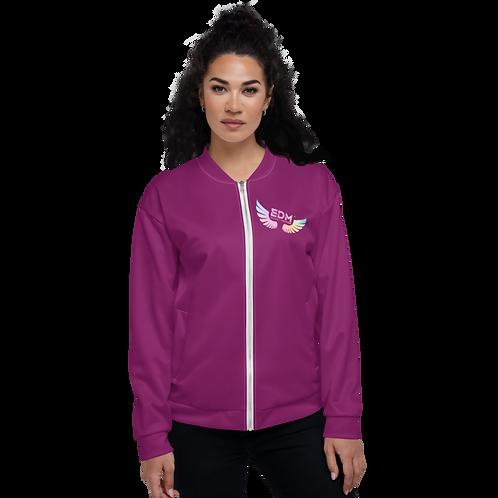 Women's Unisex Bomber Jacket - EDM J to F Tye Dye - Plum