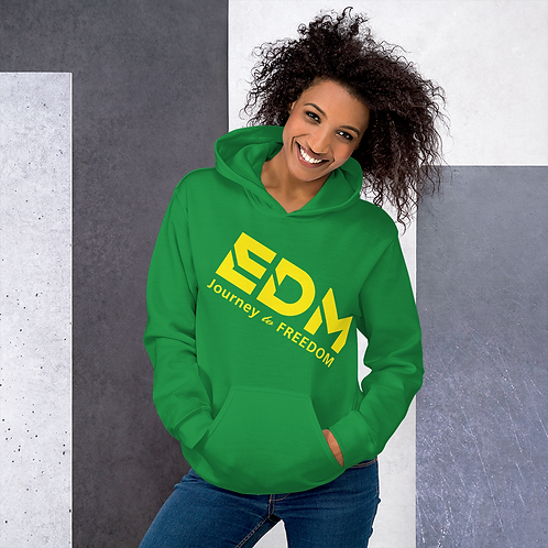 Women's Unisex Hoodie EDM J to F Text Print Yellow - Various