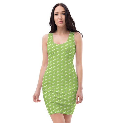 Body Con Dress - Green EDM Journey to Freedom Pattern Print - White