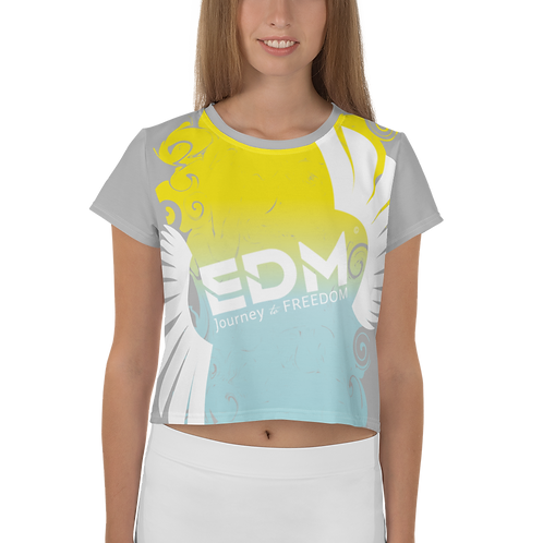 Women's Crop Top - Gradient Yellow/Blue/Grey - EDM J to F Large Logo White