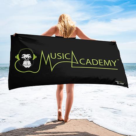 Beach / Bath Towel - GS Music Academy Ape / Text - Black