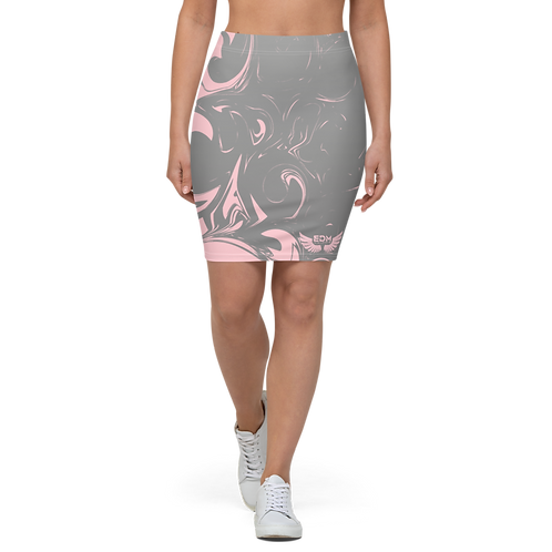 Women's Pencil Skirt-EDM J to F Grey Swirl - Baby Pink