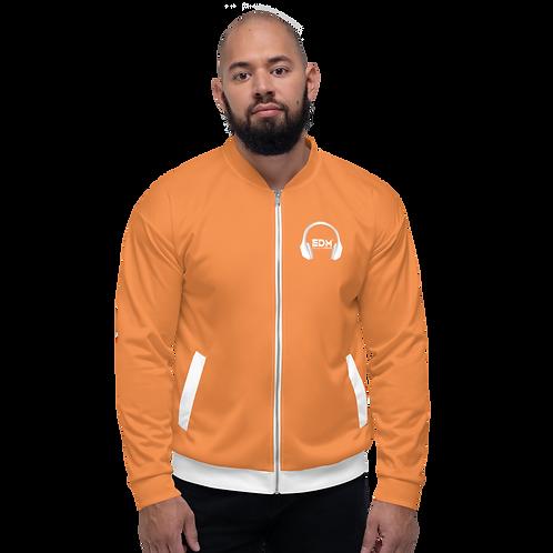 Mens Unisex Fit Bomber Jacket - EDM J to F - Orange / White DJ Style