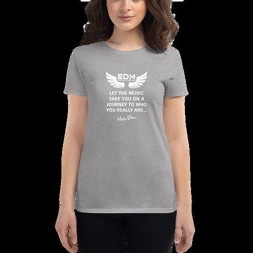 Women's short sleeve T-shirt - EDM J to F Slogan Print White - Grey