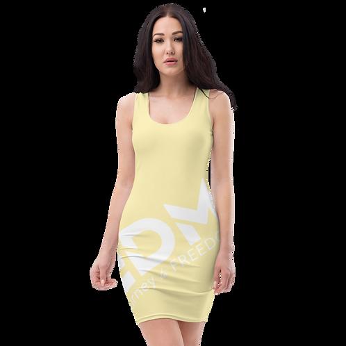 Body Con Dress - Lemon EDM Journey to Freedom No wings Print - White