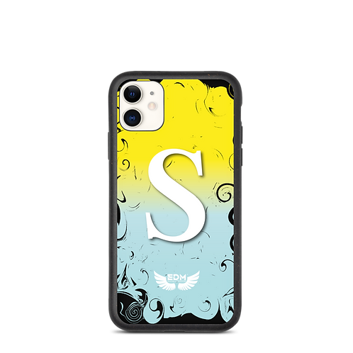 Biodegradable iPhone case-Yellow /Blue/ White- EDM J to F -Personalised Initial