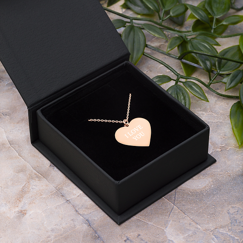Engraved Silver / Rose Gold Heart Necklace - 'I LOVE YOU'