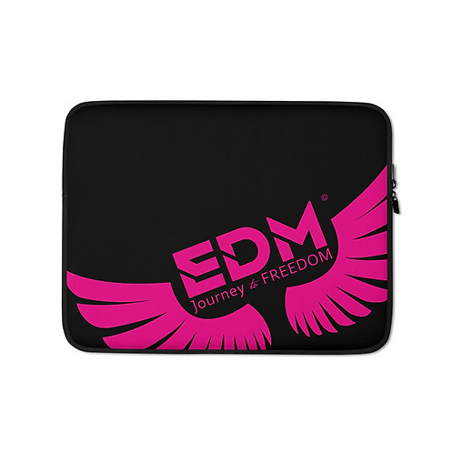 "Black Laptop Sleeve - 13"", 15"" - EDM Journey to Freedom Print - Hot Pink"