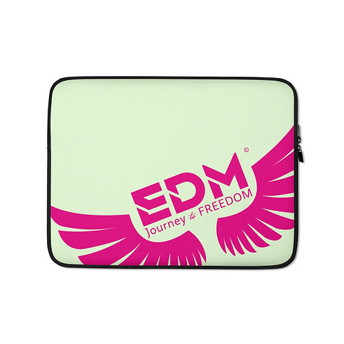 "Light Green Laptop Sleeve - 13"", 15"" - EDM Journey to Freedom Print - Hot Pink"
