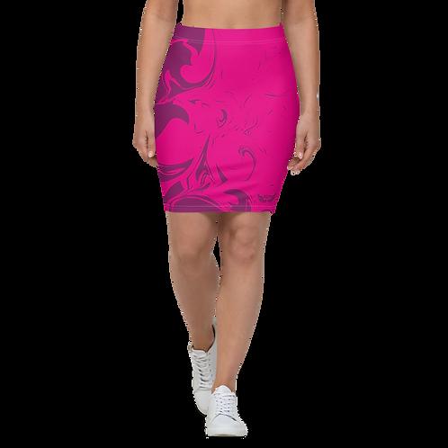 Women's Pencil Skirt-EDM J to F Hot Pink Swirl - Plum