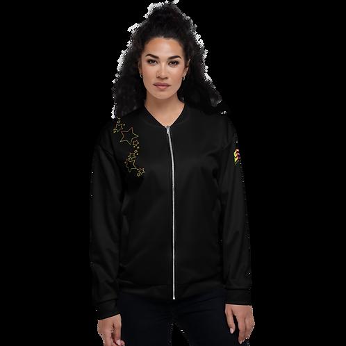 Women's Unisex Fit Bomber Jacket - EDM J to F - Black Rainbow Star