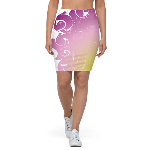 Women's Pencil Skirt-EDM J to F Purple/Yellow Circle Gradient Swirl - White