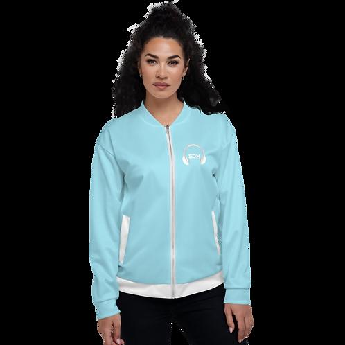 Women's Unisex Fit Bomber Jacket - EDM J to F - Sky Blue / White DJ Style