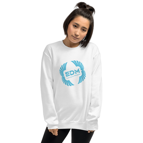 Womens Sweatshirt - EDM J to F Square Wings Logo - Blue / Various