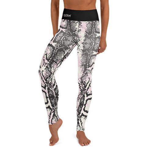 Women's Leggings - EDM J to F Snake Print - Black Waist Band