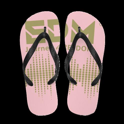 Flip-Flops Baby Pink EDM J to F Sound Bars Print - Gold
