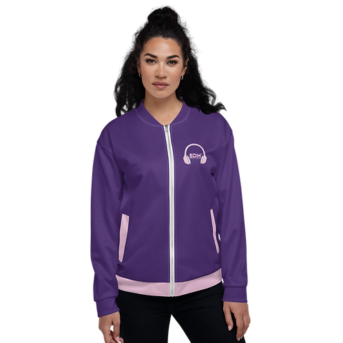 Women's Unisex Fit Bomber Jacket - EDM J to F - Pale Pink DJ Style - Purple
