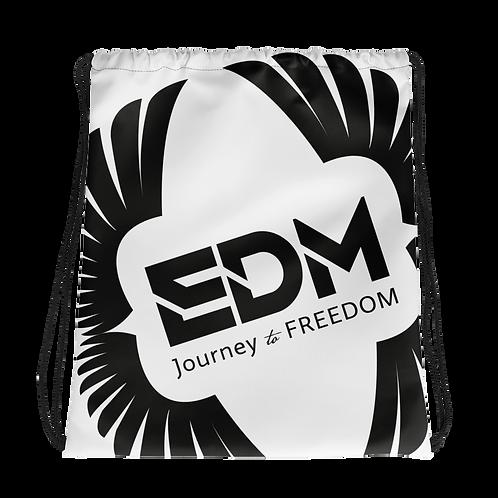 White Drawstring Bag - EDM Journey to Freedom Large Print - Black