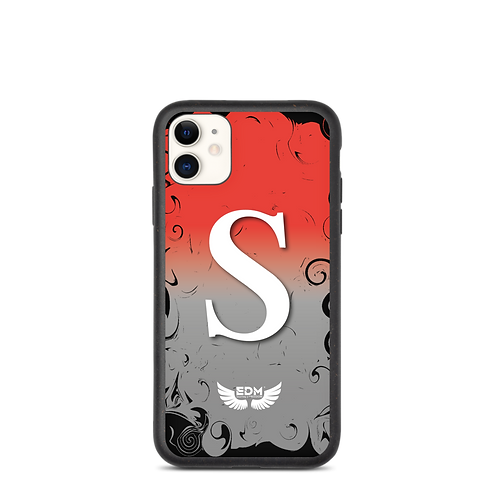 Biodegradable iPhone case-Red/Grey/ White- EDM J to F -Personalised Initial