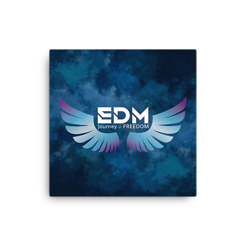 Canvas Assorted Sizes - EDM J to F Wings Logo /Navy clouds