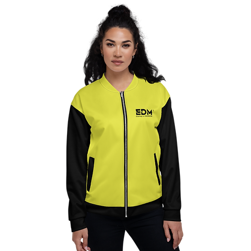 Men's Unisex Fit Bomber Jacket - EDM J to F Two-Tone Lime Yellow / Black