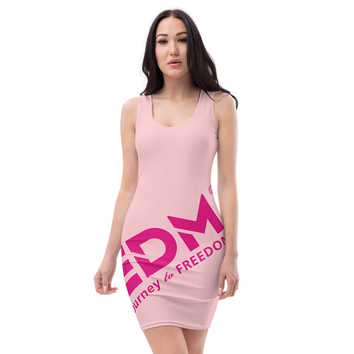 Body Con Dress - Pink EDM Journey to Freedom No wings Print - Hot Pink