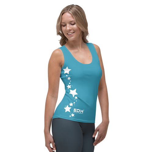 Women's Vest - EDM J to F White Star - Blue Teal
