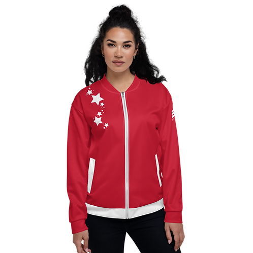 Women's Unisex Fit Bomber Jacket - EDM J to F - Dark Red White Star