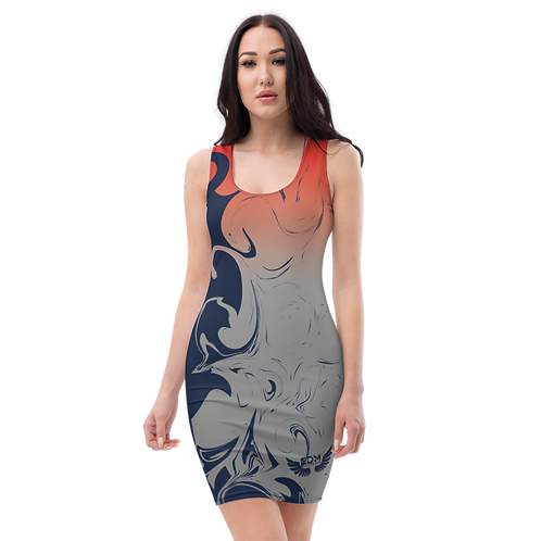 Body Con Dress - EDM J to F Red/Grey Gradient Swirl - Navy