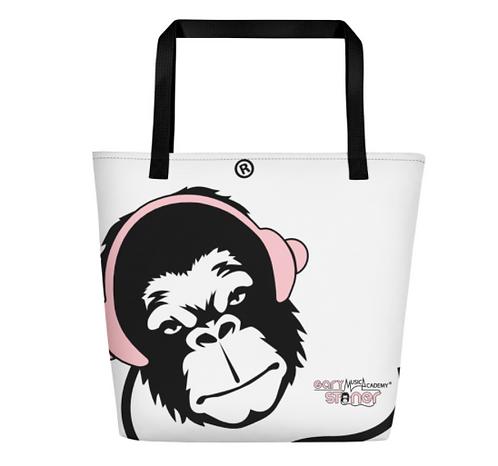 Beach Bag - GS Music Academy Ape DJ Pink - White