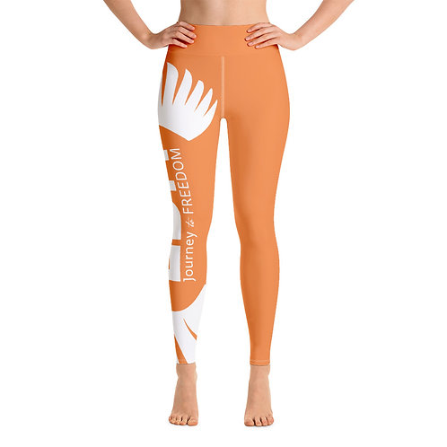 Women's Yoga Leggings Orange - EDM Journey to Freedom Print Style 2 - White