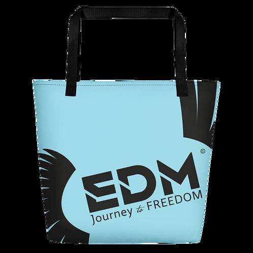 Beach Bag - Blue EDM Journey to Freedom Print - Black