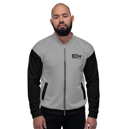 Mens Unisex Fit Bomber Jacket - EDM J to F Two-Tone Grey / Black