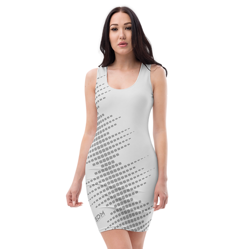 Body Con Dress - EDM J to F Sound Bars Grey - Ice Grey