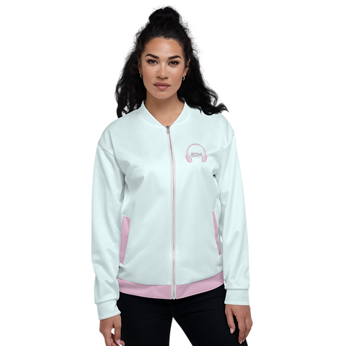 Women's Unisex Fit Bomber Jacket - EDM J to F-Pale Pink / Grey DJ Style-Ice Blue