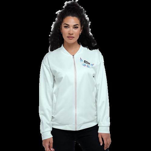 Women's Unisex Fit Bomber Jacket - EDM Journey to Freedom - Ice Blue / Multi