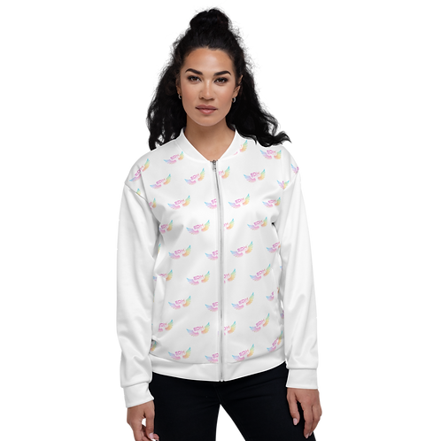 Women's Unisex Fit Bomber Jacket-EDM J to F Logo Tye Dye Pattern-White