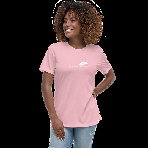Women's T-Shirt Pink / Grey - White EDM Journey to Freedom Text Print - White