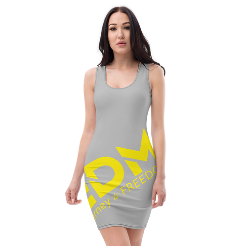 Body Con Dress - Grey EDM Journey to Freedom No wings Print - Yellow