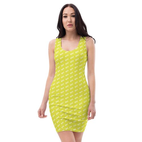 Body Con Dress - Lime EDM Journey to Freedom Pattern Print - White